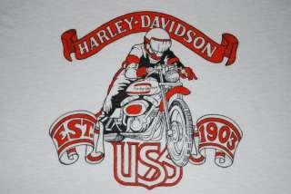 VINTAGE HARLEY DAVIDSON MOTORCYCLES T  SHIRT 1970S XL