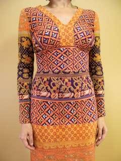 vtg 60s MIXED PRINTS Tribal BLOCK Hippie Glam BOHO India Maxi DRESS
