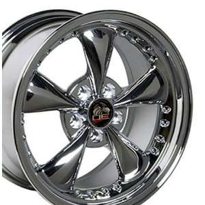 Bullitt Style Wheel with Rivets Fits Mustang (R)   Chrome 17x9 Set of