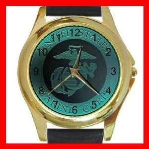 Marine Corp Army Round Gold Metal Watch Unisex
