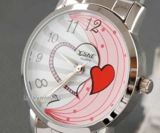 316 Lady Cute Pink Heart Stainless Steel Wrist Watch