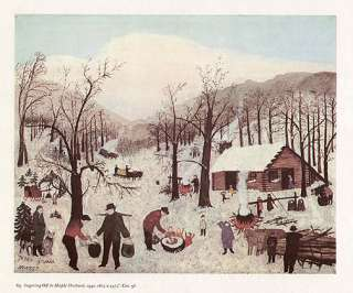 GRANDMA MOSES print SUGARING OFF IN MAPLE ORCHARD