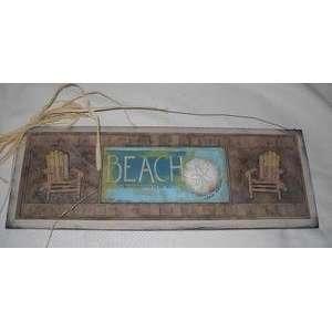 Beach Chairs Sand Dollar Wooden Wall Art Sign