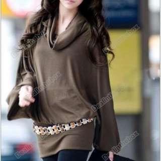 New Korea Women Ruff Neckline T shirt Long Sleeve Tops Western 2