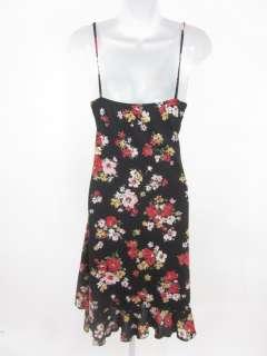NAF NAF Black Floral Print Frill Sleeveless Dress Sz L