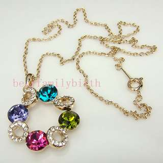 18K rose gold GP multi SWAROVSKI Crystal necklace 354