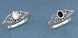 Celtic Sterling Silver Ring Mother Pearl or Onyx Sz 4 8