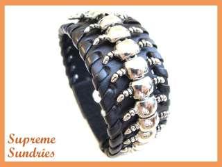Metal Chian Chilopod Mens Black Leather Bracelet 377