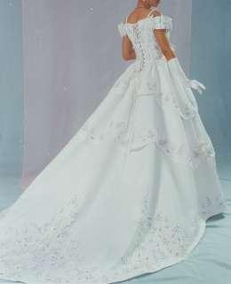 FAIRYTALE WEDDING BRIDAL DRESS GOWN w/SILVER SZ16 #3842