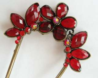 VARY COLORS SWAROVSKI CRYSTAL VINTAGE FLORAL BUTTERFLY HAIR STICK PIN