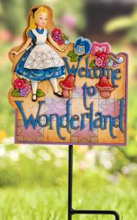 JIM SHORE Welcome to Wonderland ALICE GARDEN PLAQUE NIB