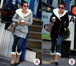 Gray Black Korea Fashion Women Hoodie Jacket Coat Warm Outerwear