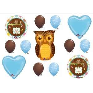 Baby Boy Owl Look Whooo Shower balloons Decorations