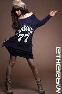 Womens Girls Korea Vintage Off Shoulder long Tops Dress