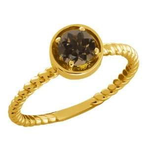 0.46 Ct Round Brown Smoky Quartz 14k Yellow Gold Ring Jewelry