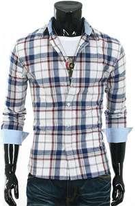 Mens Slim Fit Casual Shirts Plaid Check Premium Dress shirts Casual
