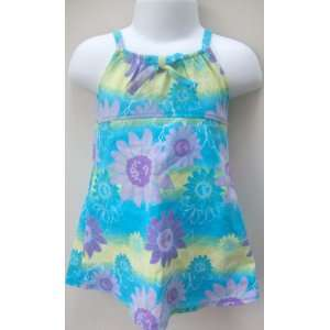 Girl 12 Months, Blue Floral, 100% Cotton, Summer Dress Frock: Baby