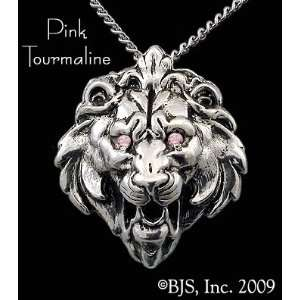 Lion Head Necklace, 14k White Gold, 20 Silver Box Chain, Set With a