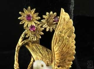 18K GOLD ITALY RUBY/PEARL ENAMEL BIRDS NEST FLOWER BROOCH