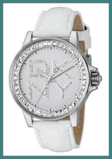 New DKNY WOMENs WHITE Leather WATCH NY4788