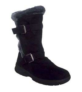 Itasca ALEXIS Womens Black Faux Suede Fur WINTER Snow Boot