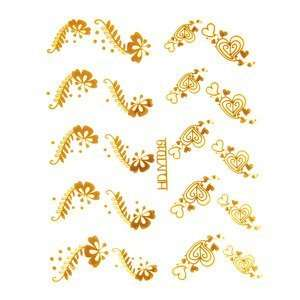 Gold Whimsical Hearts/Floral Nail Stickers/Decals Beauty
