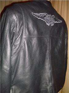 Harley Davidson Leather Jacket Vtg Medium Embroidered Wings