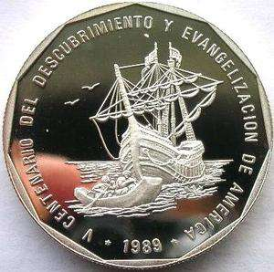 Dominican 1989 500th Anniversary Discover Peso 1oz Silver Coin,Proof