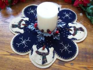 Let It Snow Wool Penny Rug Candle Mat *PATTERN*