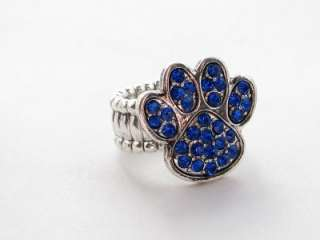 Kentucky Wildcats Blue Paw Print Crystal Stretch Ring Fashion Jewelry