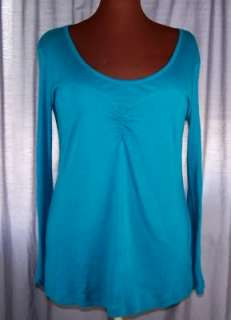 Daisy Funetes Teal Cotton Modal Stretch Scoop Neck TOP Long Sleeve XL