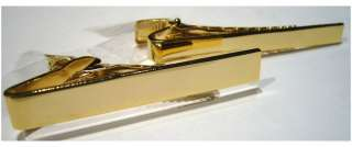 PLAIN TIE CLIP  TIE BAR   GOLD PLATED 2 WIDTHS AVAIL
