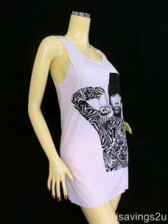 NICKI MINAJ Tank Top, Hip Hop DANCE Rap, White SINGLET T shirt Mini