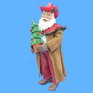 10 Fabriche Western Cowboy Santa Claus with Christmas Tree Figure