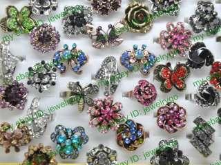 Nice wholesale lots 10pcs Pretty rhinestone butterfly flower rings