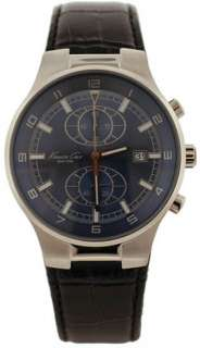 Mens Kenneth Cole Chrono Blue Face Brown Leather Watch