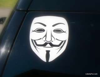 Car Window Decal  Anonymous Mask  Guy Fawkes  V for Vendetta  Bumper