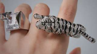 White Gold Plated Cubic Tiger Ring SZ 6.5