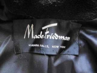 Vintage Black Boucle Wool Swing Coat with White Fur Collar B44