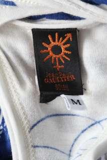 GAULTIER SOLEIL Blue+White Stripe Long TANK DRESS Beach Cover Up M NEW