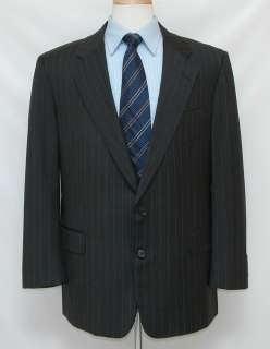 895 Mint Hickey Freeman 42R 42 Wool Suit Dark Gray Stripes