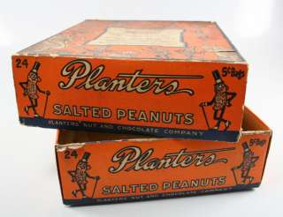 Chocolate Co. 1920s Cardboard Candy Bar Box Display Mr. Peanut