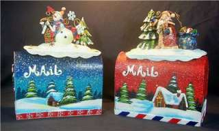 Grandeur Noel Christmas Decorative Metal Mailbox Set 2002