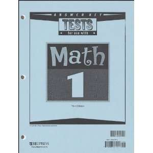 Bob Jones University Press Math 1 Tests Answer Key (BJU