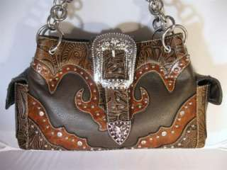 Brown Western Cowgirl Rhinestone Buckle Tooled Handbag Purse and