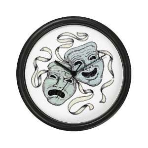 Vintage Comedy Tragedy Mask Theatre Wall Clock by