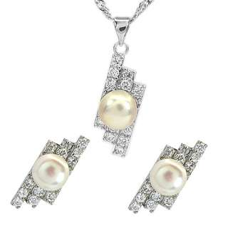 WEDDING Pearl W Gold GP Pendant Earrings Necklace Chain Jewelry Set