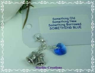 Blue  Bridal Charm ~ Wedding Bells & Sapphire Crystal Heart
