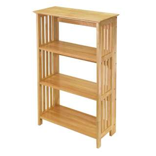Mission 4 Tier Book Shelf Beech Wood Bookcase