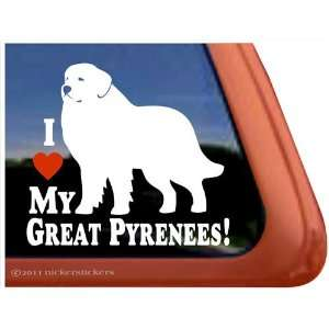 I Love My Great Pyrenees Dog Vinyl Window Decal Sticker